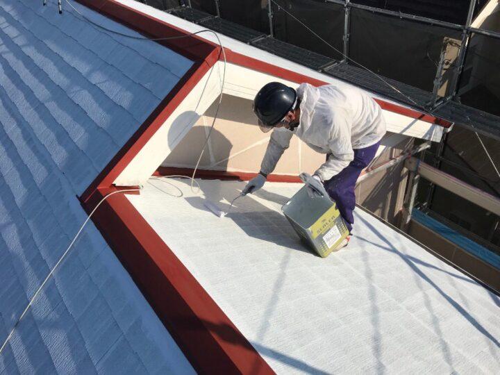 屋根 下塗り2回目 屋根板金錆止め