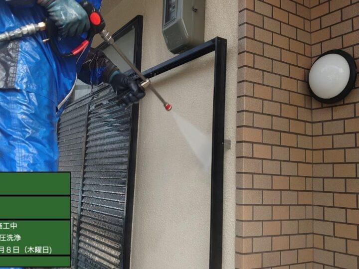 外壁(モルタル面)高圧洗浄