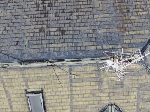 屋根をドローンで撮影した写真です